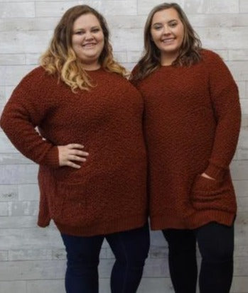 Rust Over Sized Tunic Sweater