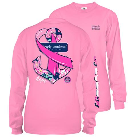 Simply Southern Preppy Hope Anchor Cancer Long Sleeve T-Shirt