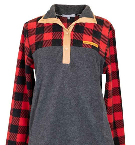 Simply Southern Fleece Pullover-Plaid