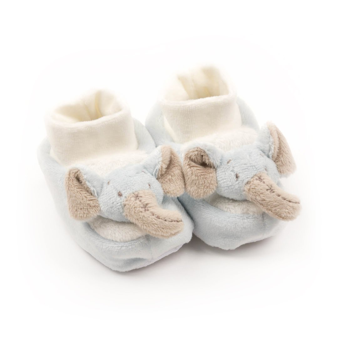 Mainstreet Collection Blue Elephant 0-6 Month Plush Slippers