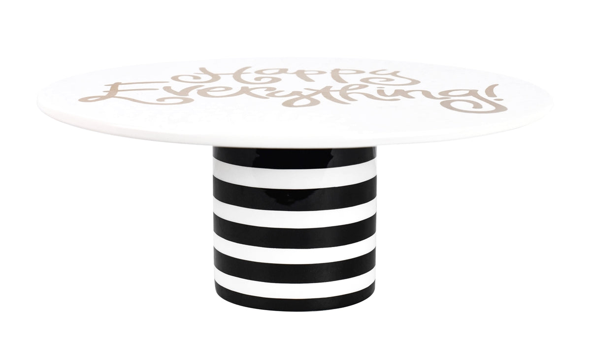 "Happy Everything Black Stripe 11"" Cake Stand"