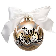 Coton Colors Just Married Glass Ornaments