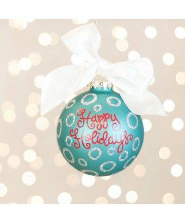 Coton Colors Happy Holidays Glass Ornament