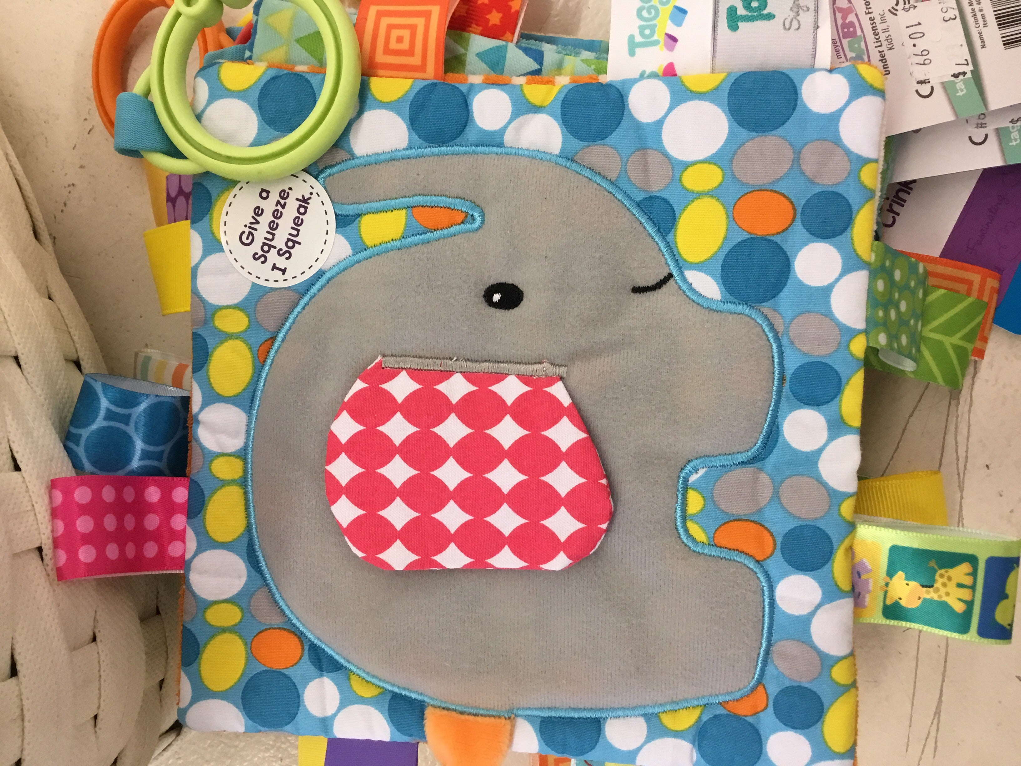 Mary Meyer Crinkle Me Taggies- Elephant