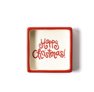 Happy Christmas White Color Block Square Trinket Bowl