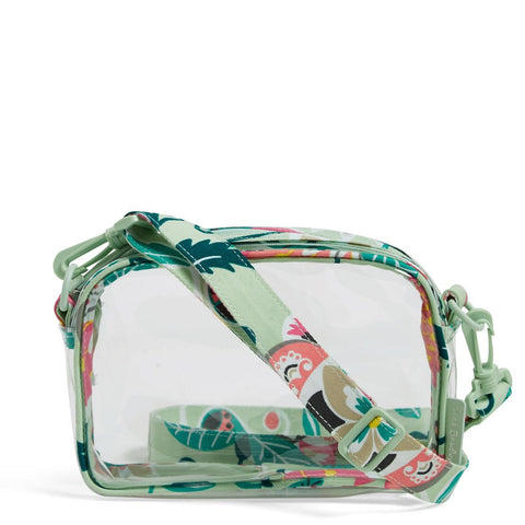 Clearly Colorful Stadium Crossbody - Mint Flowers