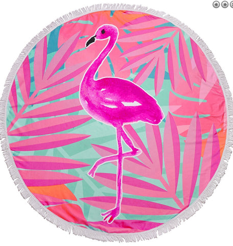 Flamingo beach towel 5ft round