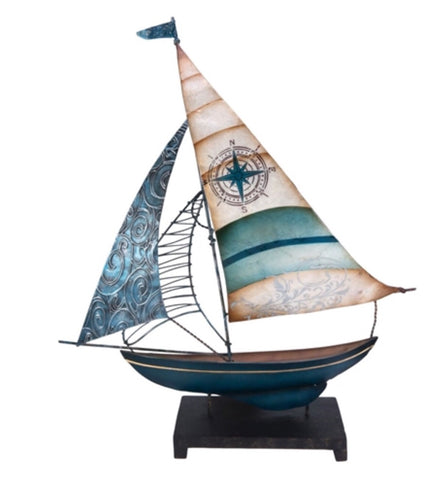 "18"" sail metal/ capiz sailboat on base"