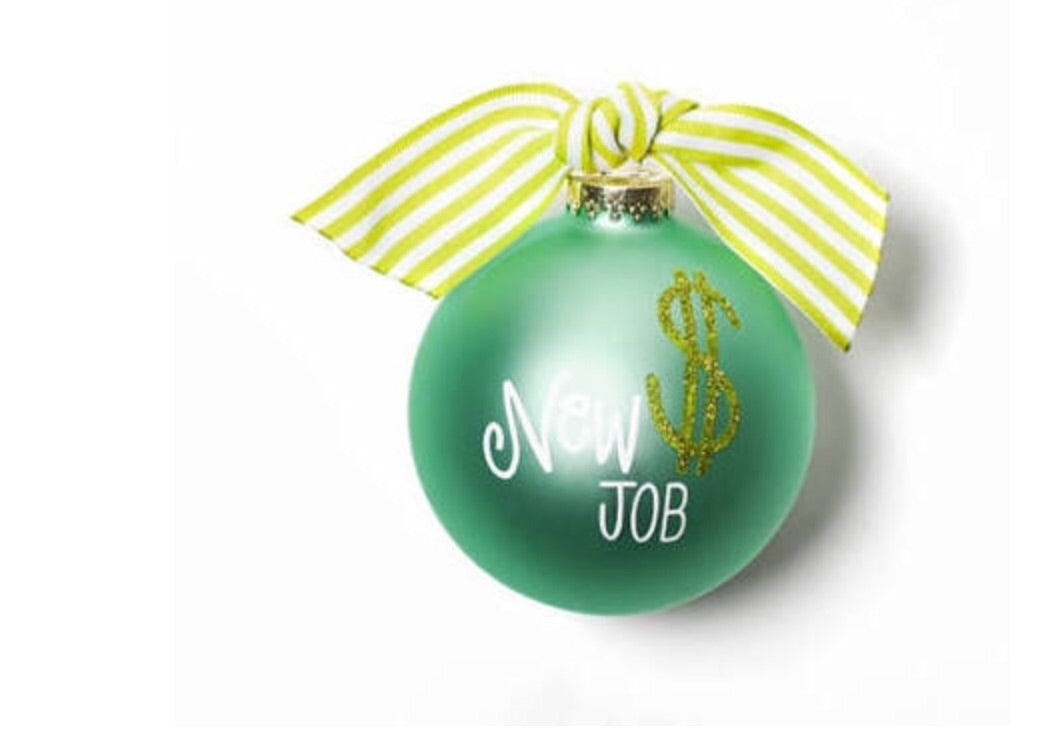 New Job Glass Ornament