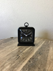 Pewter table clock black