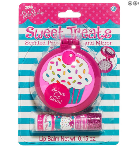 Sweet treats scented pop up brush and mirror with lip balm