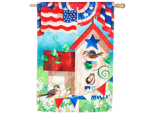 Patriotic birdhouse garden satin flag