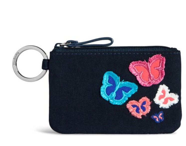 Iconic Zip ID Case Navy Butterfly