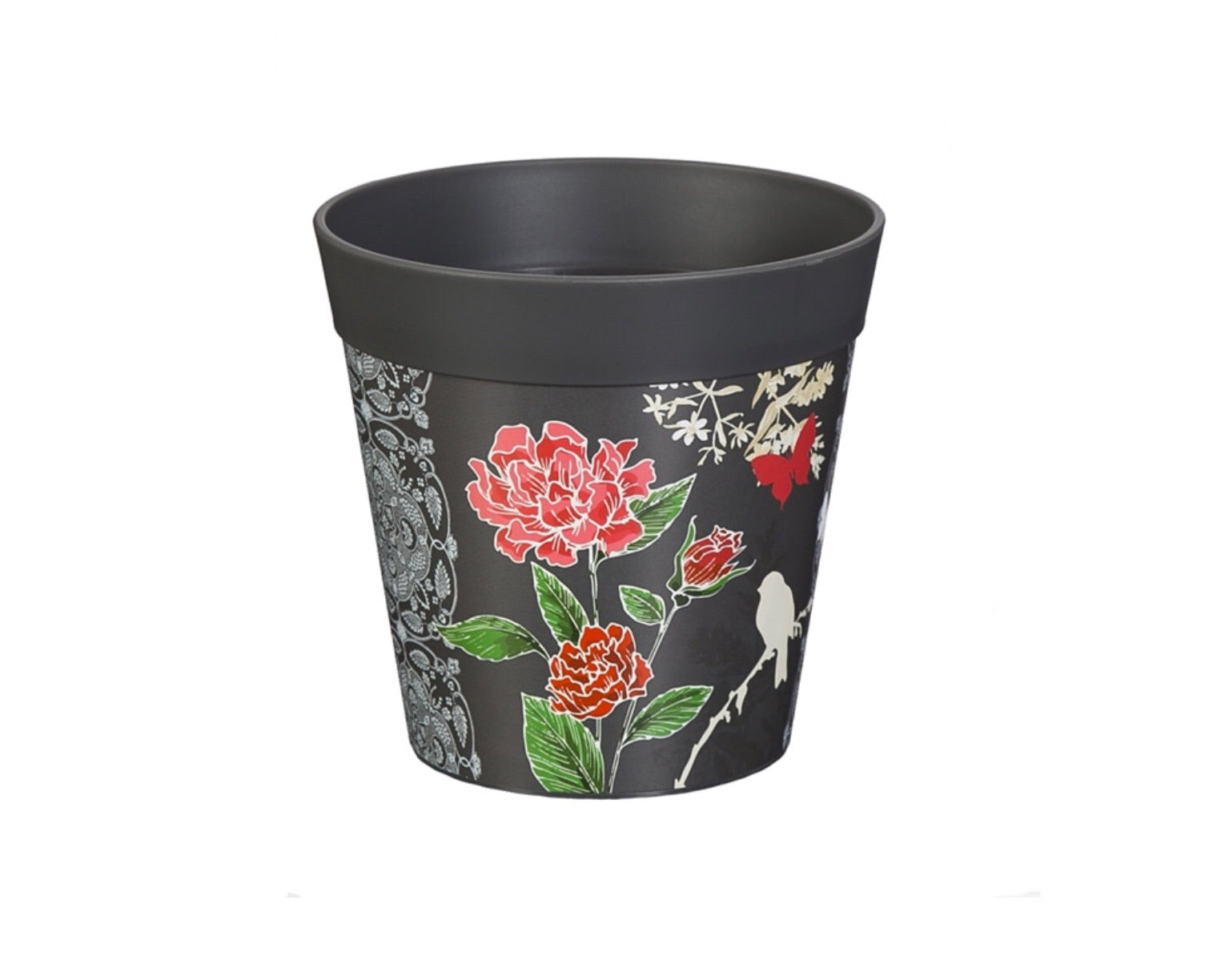 Grey roses floral with wildlife 6""