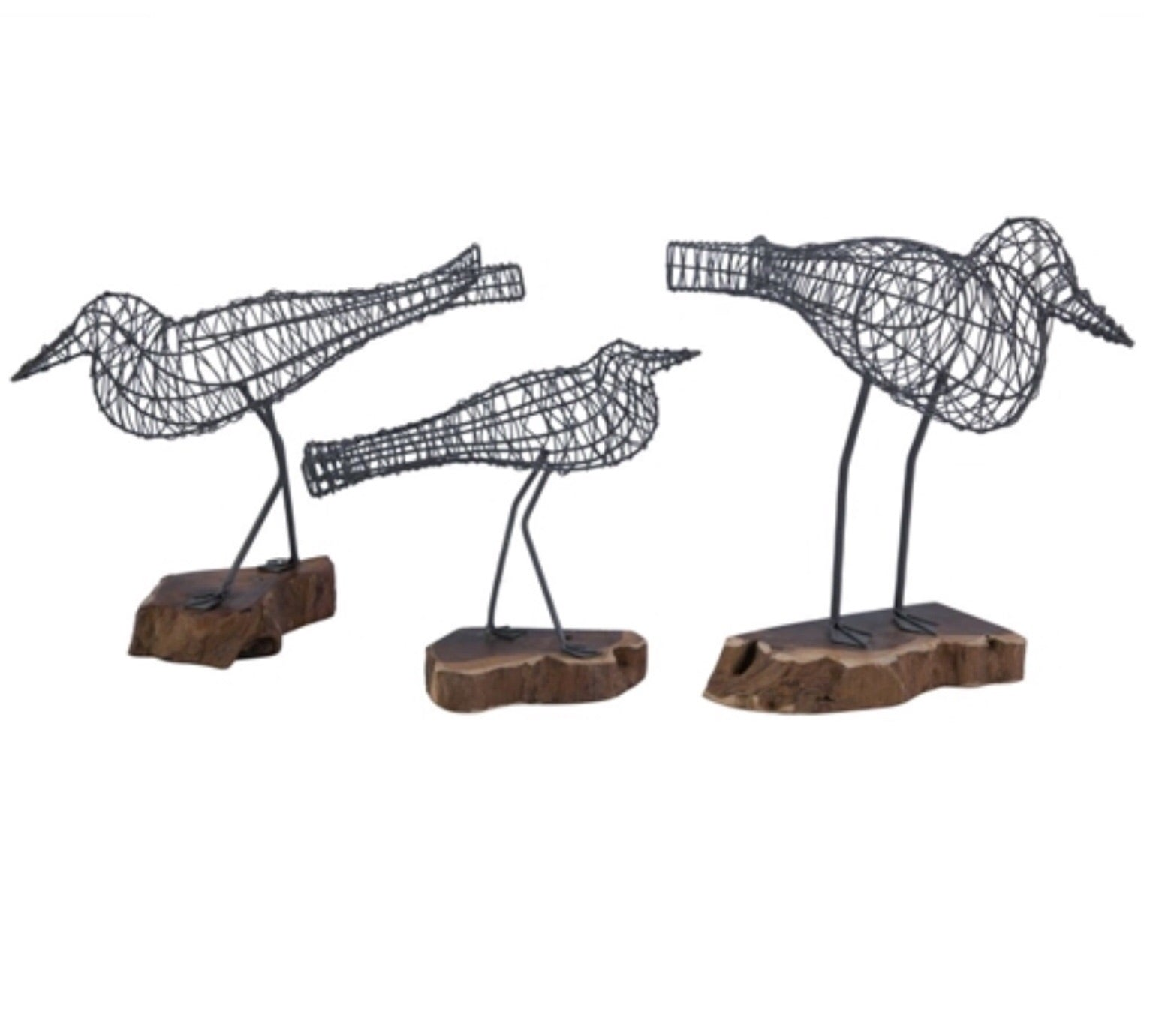 Wire bird on wood Stand