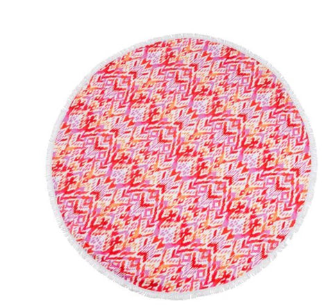 Sloan's round beach towel (hit pink triable)