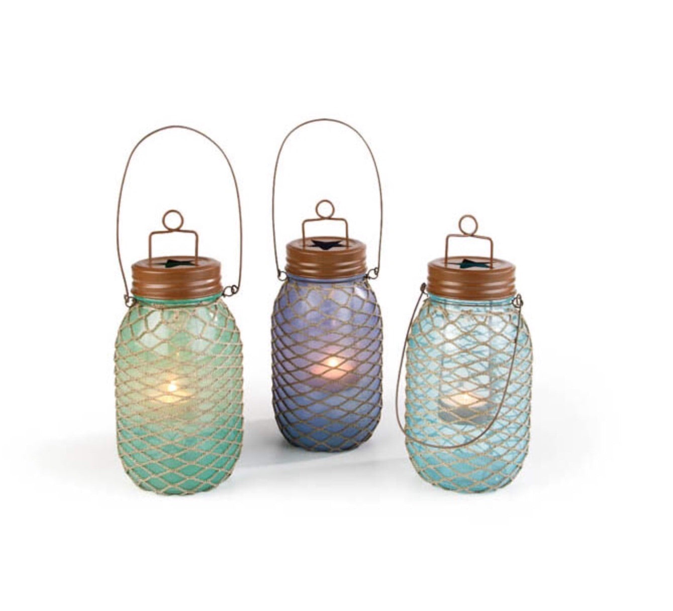 Fishnet hanging table top candle jars