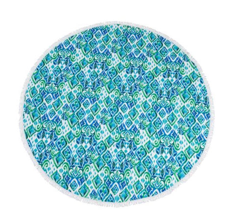 Sloan's round beach towel (green triable)