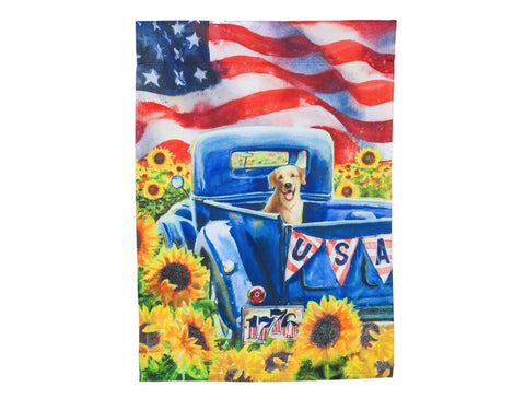 Patriotic truck and dog Garden Suede flag
