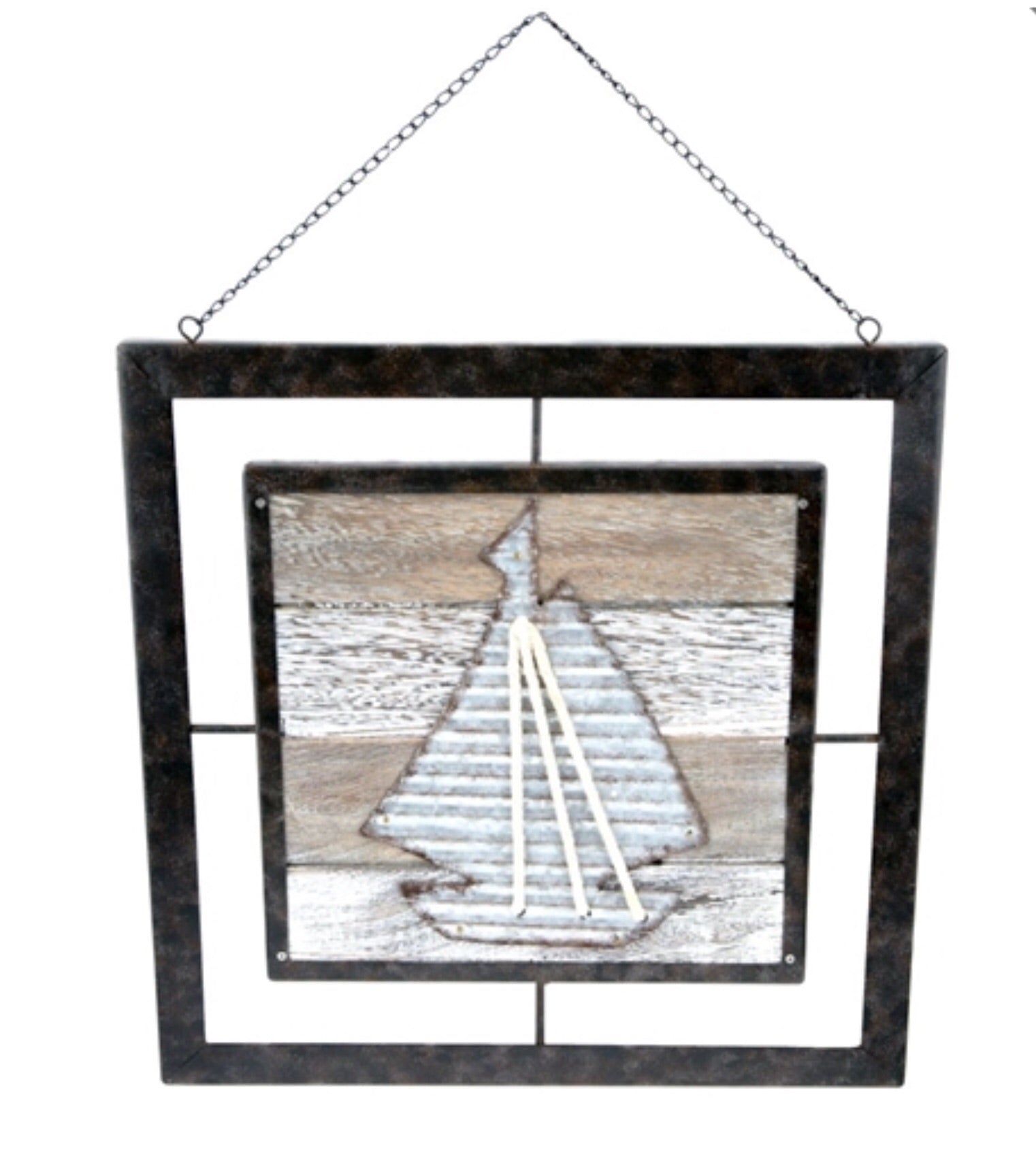 Metal Plaque with Wood Sailboat