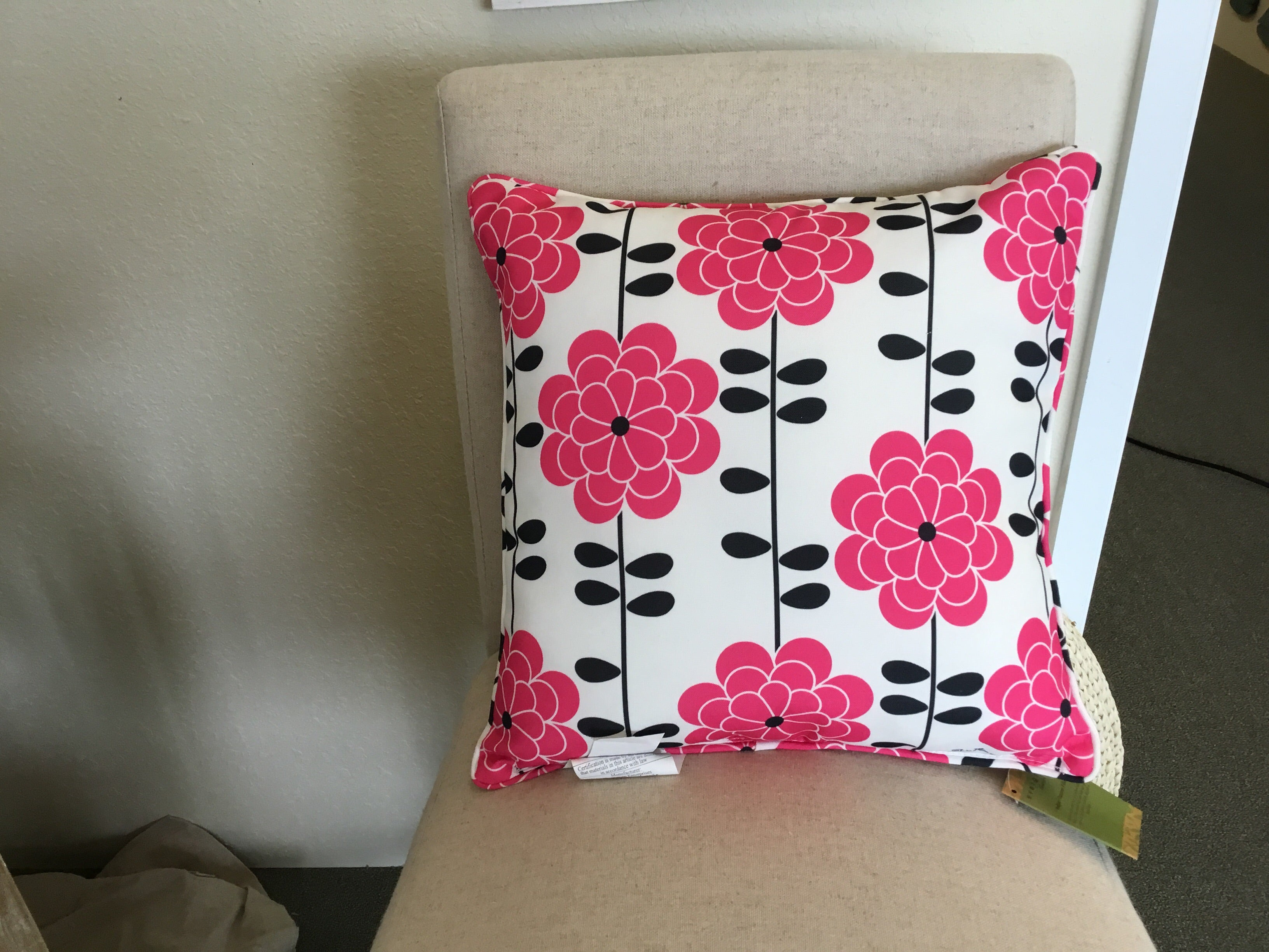 Evergreen Pink and Black Indoor/Outdoor Pillow