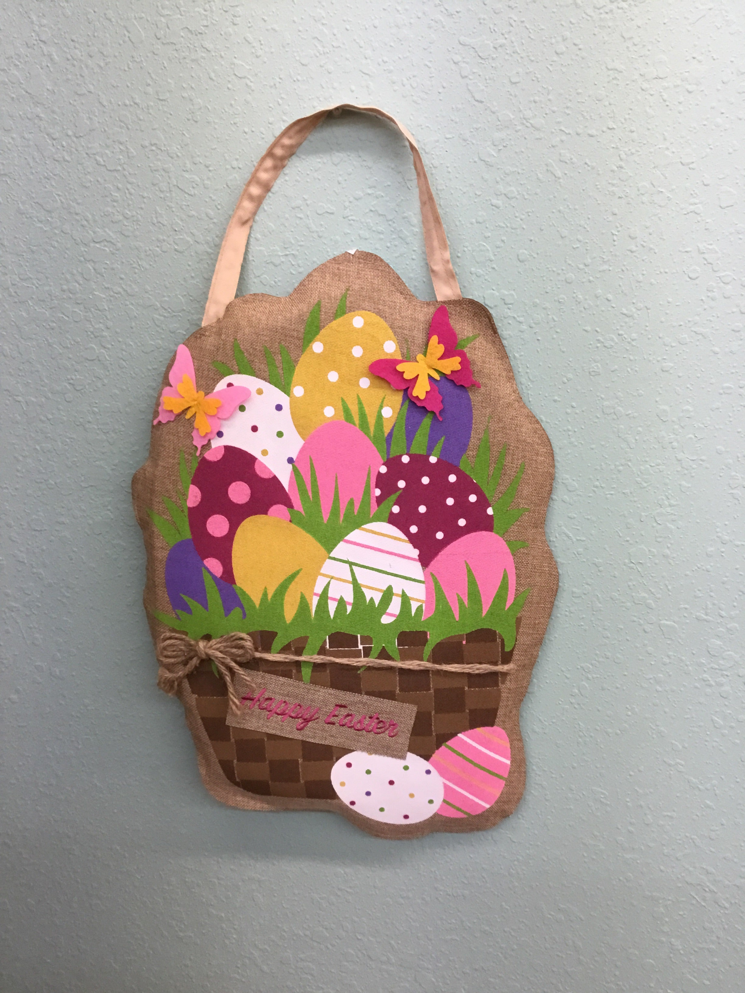 Easter eggs in basket burlap door hanger