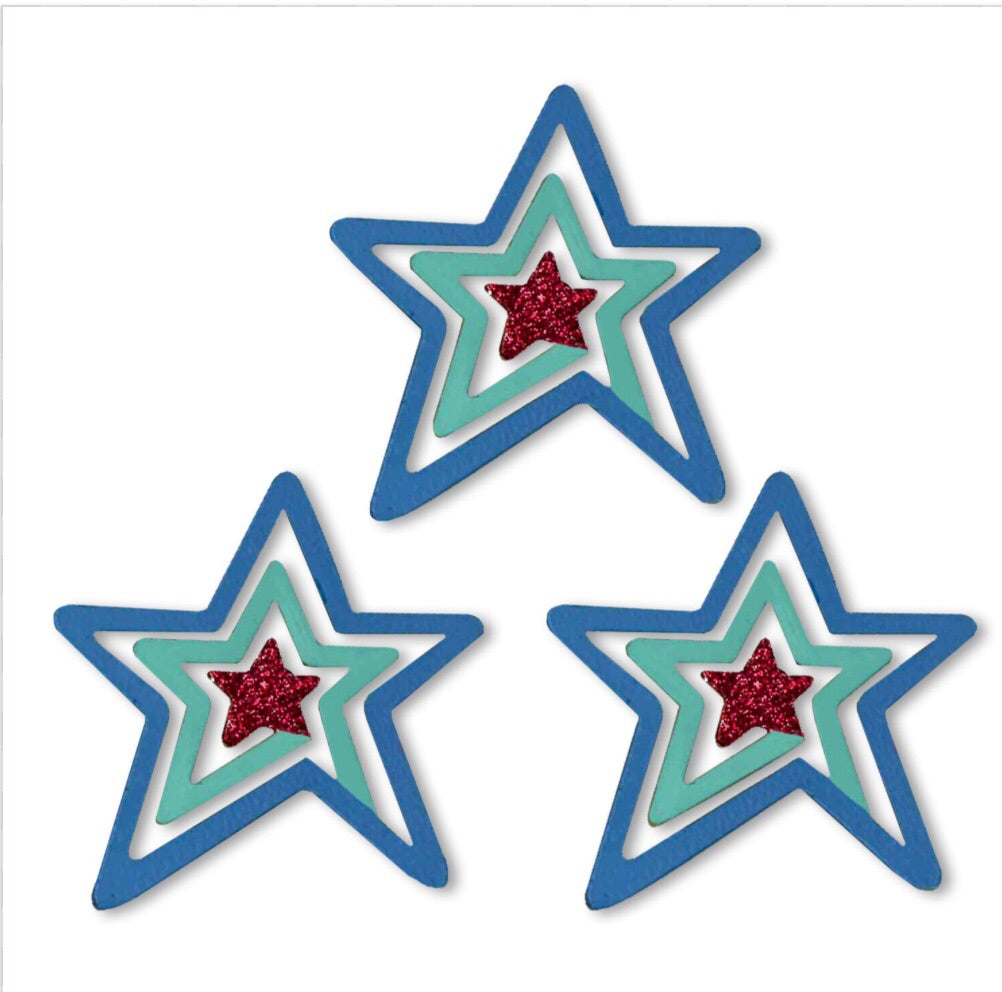 Patriotic star swirl magnets