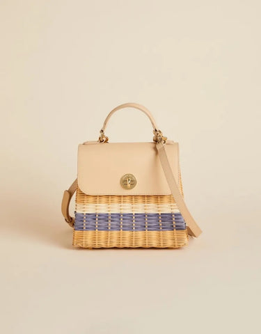 Oyster Alley Rattan Top Handle Crossbody