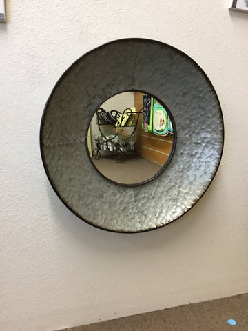 Galvanized circular wall mirror