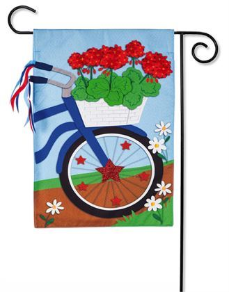 Patriotic Bicycle Garden Linen Flag