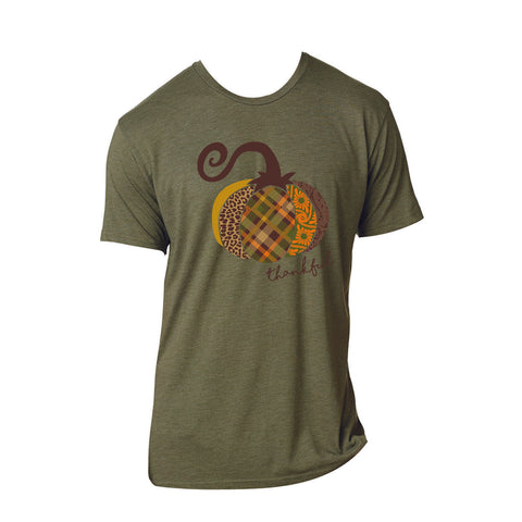 Thankful Pumpkin Military Green Shirt