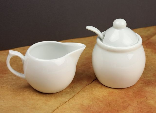 Omniware Sugar and Creamer Set with Sugar Spoon- White