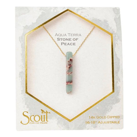 Stone Point Necklace-Aqua Terra/Stone of Peace