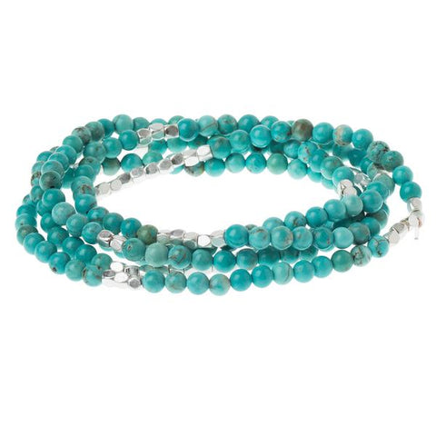 Turquoise/Silver-Stone of the Sky-2 in 1 Wrap Bracelet/Necklace