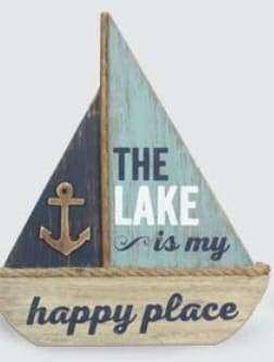 The Lake is my Happy Place Sailboat Table Decor