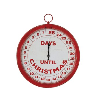 "14""L x 1-1/4""W x 15-1/2""H Wood Countdown Wall Decor ""Days Until Christmas"", Distressed Red & Cream"