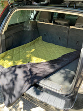 Quilted Reversible car boot dog mat with muddy scrabbler flap