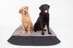 Reversible car boot dog mat with muddy Scrabbler flap with Matching Mollies