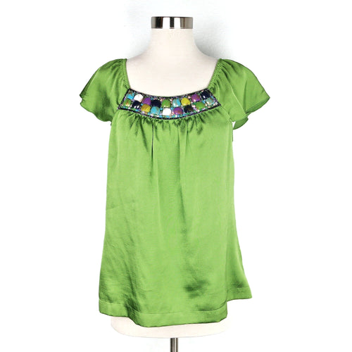 Apt. 9 Green Embellishment Blouse Size M