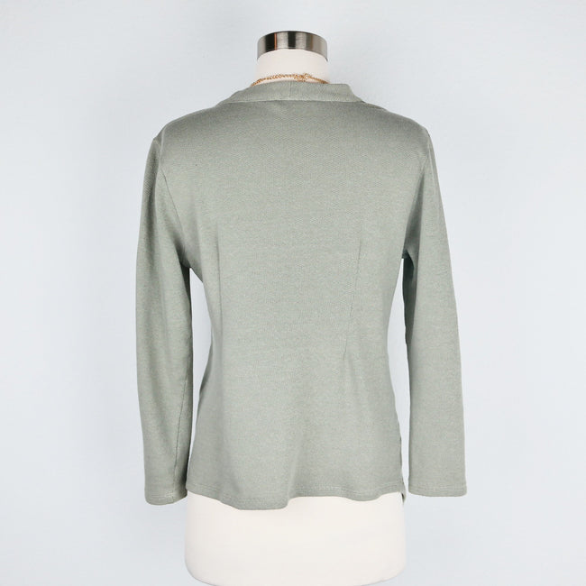 SALE Soft Surroundings Petite Green Sweater V Neck Size M