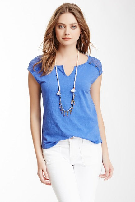 Lucky Brand Crochet Embroidered Top Blue Size S