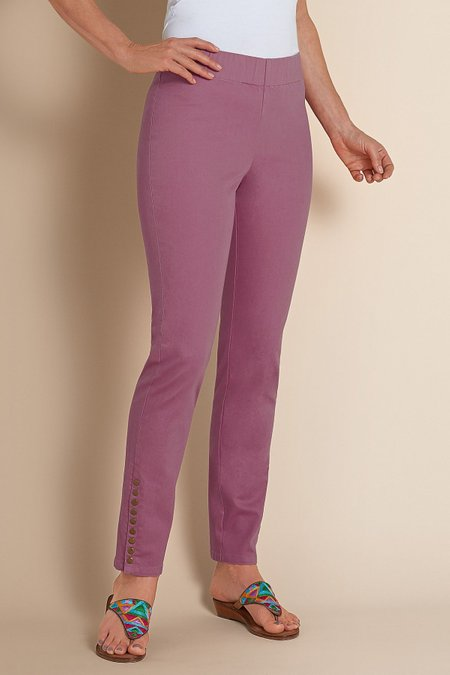 Soft Surroundings Mauve Petite Elastic Band Metro Jeggings Pants Size PS