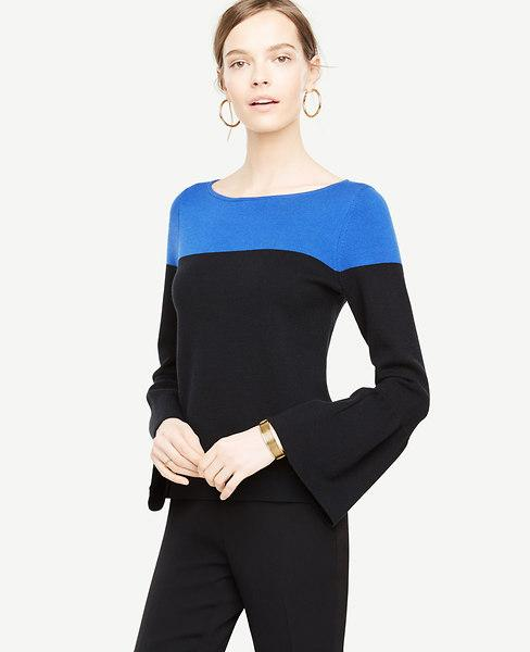 NWT Ann Taylor L Black Colorblock Bell Sleeve Pullover Sweater