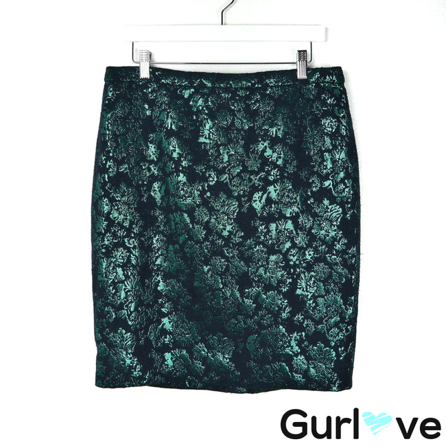 NWT J. Crew 10 Green Metallic Floral The Pencil Skirt