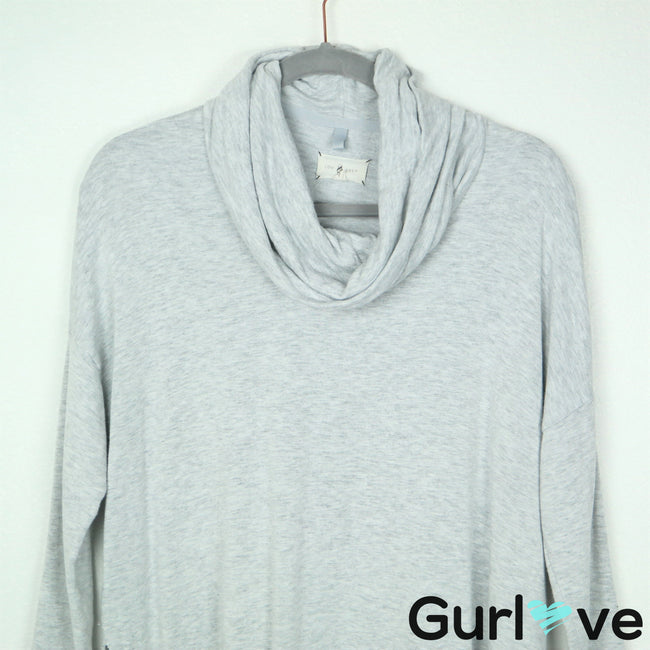 Lou & Grey XS Gray Cowl Neck 3/4 Sleeve Oversized Dolman Sweater