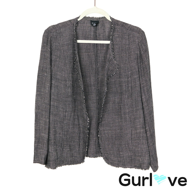 Eileen Fisher S Gray Knit Linen Open Jacket