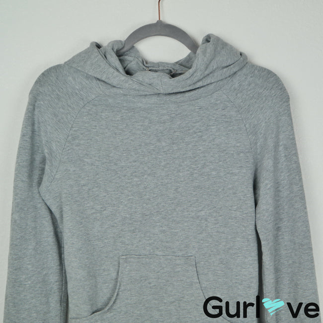 Corson S Gray Bell Sleeve Open Back Funnel Neck Hoodie Revolve