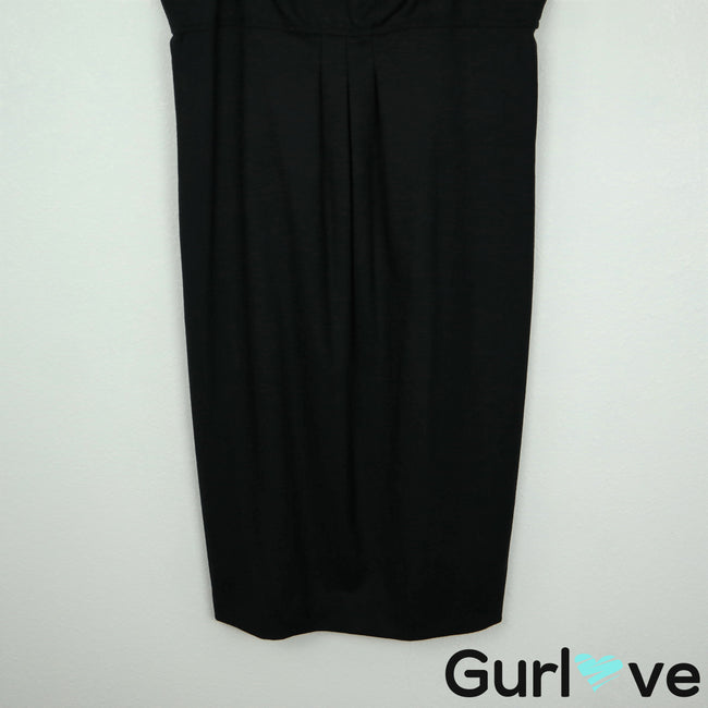 VINCE 6 Black Straps Sheath Wool Dress