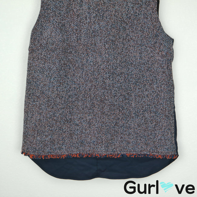 Bailey 44 L Blue Tweed Fringes Sleeveless Faux Leather Hopper Top