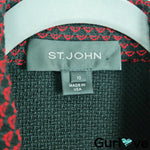 St. John 10 Red Black Knit 3/4 Sleeve Asymmetrical Wool Blend Jacket